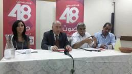 """אירוע השקת הערוץ (על המקרופון שר התקשורת ה""""פלסטיני"""")"""