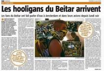 """""""החוליגנים של בית'ר"""": אחת הכותרות בתקשורת הבלגית"""