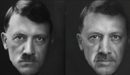ארדואן (מימין) והיטלר (משמאל): מיצאו את ההבדלים