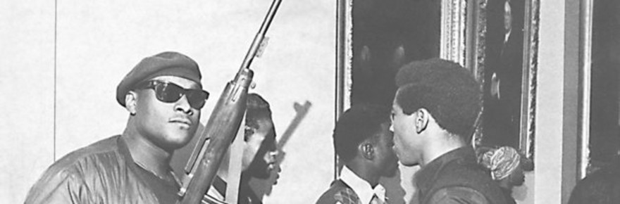 Unidentified members of the Black Panthers hold guns during the group's protest at the California Assembly in May 1967 in Sacramento, California. (Sacramento Bee/MCT via Getty Images)