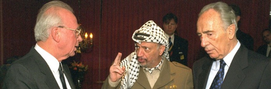 OSLO, NORWAY - DECEMBER 10: (FILE PHOTO) Palestinian leader Yasser Arafat (C) talks with Israeli Prime Minister Yitzhak Rabin (L) and Israeli Foreign Minister Shimon Peres after they were awarded the Nobel Peace Prizes December 10, 1994 in Oslo, Norway. (Photo by Yaakov Saar/GPO via Getty Images)